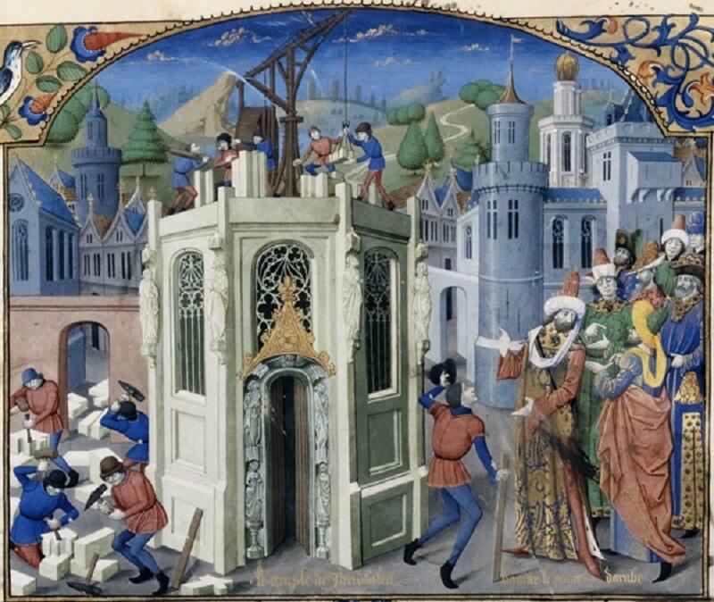 Ilustracja z księgi Histoire d'Outremer Wilhelma z Tyru (XII w.), przedstawiająca scenę z życia w Outremer